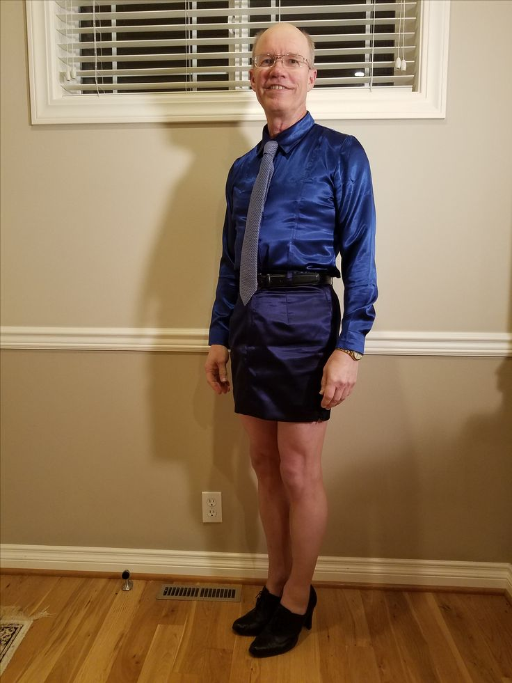 Blue silk skirt from skirt suit, blue satin silk shirt, blue & white checked tie, nude Donna Karen nylons, black oxford heeled shoes. Wore to work 10/20/17.