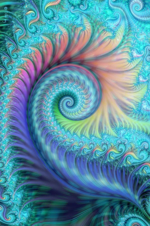 turquoise fractal swirl by love-it