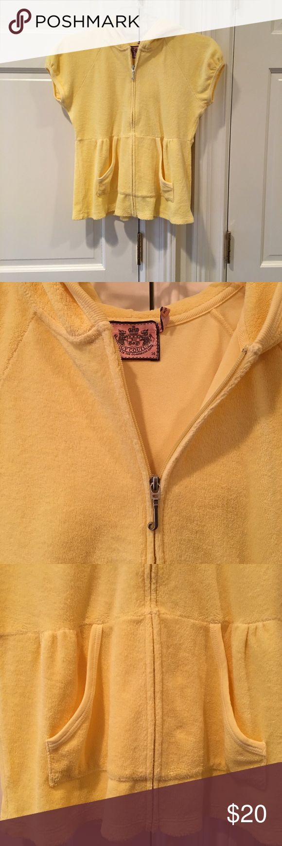 Kid's Juicy Couture Terry Short Sleeve Hoodie Kid's Juicy Couture Terry Short Sleeve Hoodie Size 14 Bright Yellow Slightly Puffed Sleeve and Front Pockets Good Condition Juicy Couture Shirts & Tops Sweatshirts & Hoodies