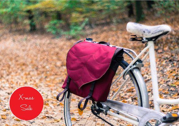 Claret Leaf Pannier Bag, Waterproof Messenger Bag, Woman's Bike accessories, Lightweight , Durable Cycling Bag