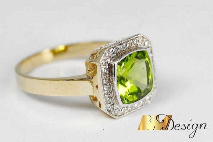 Stylowy pierścionek z oliwinem i diamentami projekt i wykonanie Bm Design. Zjawiskowy, pierścionek z oliwinem i diamentami. Kolorowy - Biżuteria na indywidualne zamówienie. Pierścionek w starym stylu Złoto Diamenty Szafiry Biżuteria Platyna BM Design!