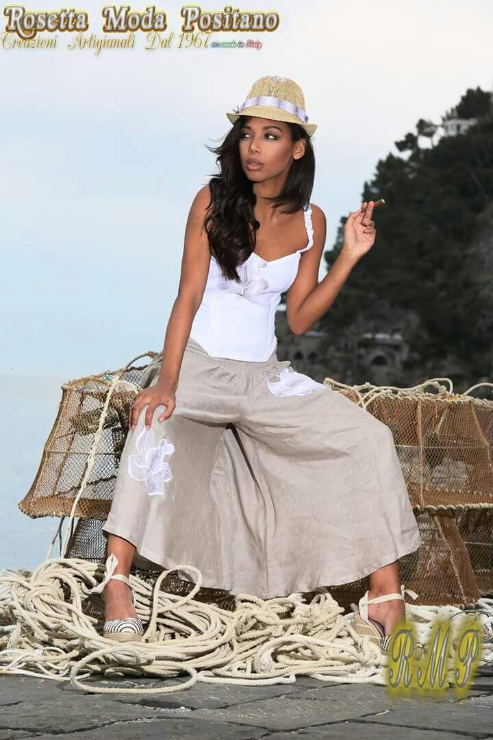 GonnaPantalone e Top  #100×100lino#IlovePositano#moda artigianale#madeinitaly
