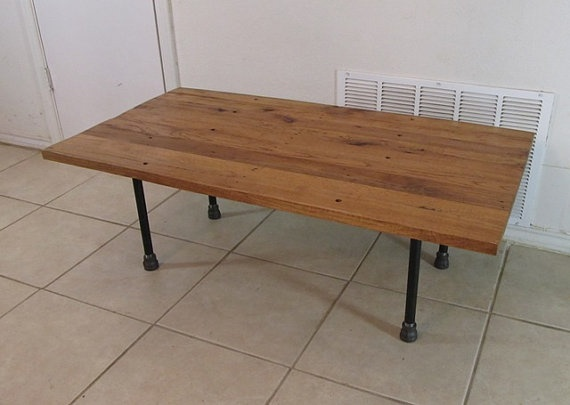 Reclaimed Wood Coffee Table Barn Oak Steel Pipe Legs Office Pinterest Pipes On And Tables