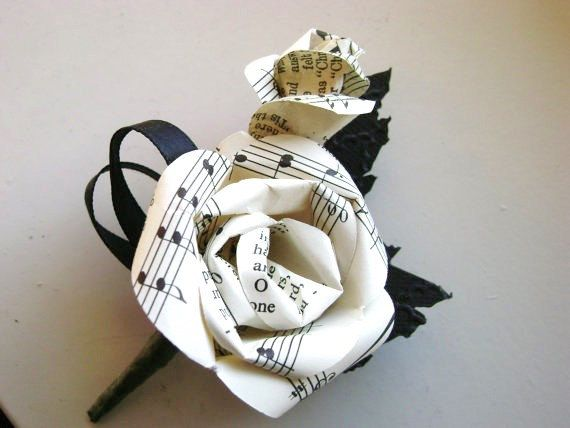 Sheet music hymnal paper rose wedding men 39 s boutonniere for Paper roses sheet music free