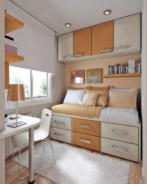 Kleines Teenager Zimmer Bett Mit Bettkasten Schubladen Oberschränke Orange  Creme