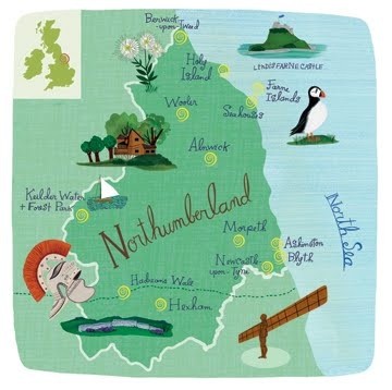 Map showing the Highlights of Northumberland by Anne Smith