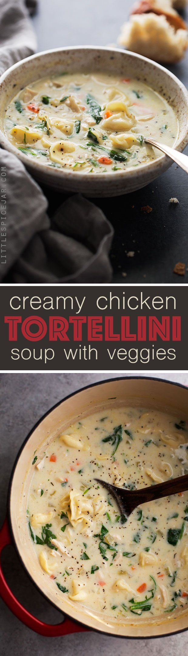 Creamy Chicken Tortellini Soup - a creamy chicken soup with tons of carrots, baby spinach, and cheesy tortellini. So perfect for fall! #chickennoodlesoup #chickensoup #chickentortellinisoup | http://Littlespicejar.com