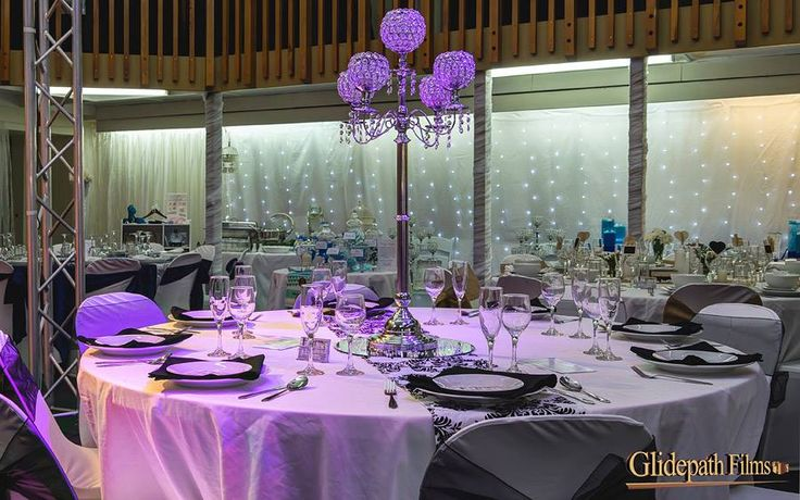 Damask black and white set up with acrylic beaded candelabra.  Hire from http://www.allureweddings.co.nz