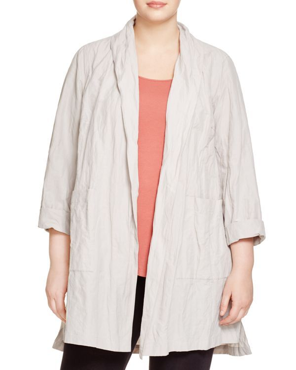 Eileen Fisher Plus Crinkled Kimono Coat