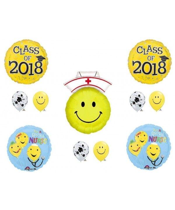 Class of 2018 Nursing Graduation Pinning Celebration Balloon Decorations Supplies Bouquet kit - C2180LZEXTE