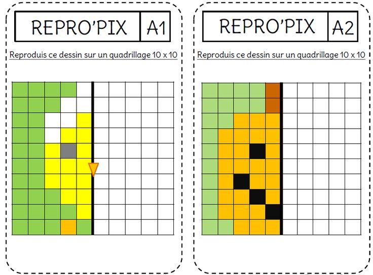 reproduction de figures et symétrie par coloriage pixel art ce1 - ce2