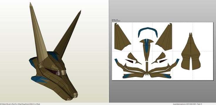 Papercraft .pdo file template for Stargate - Anubis Goa'uld Helmet +FOAM+.