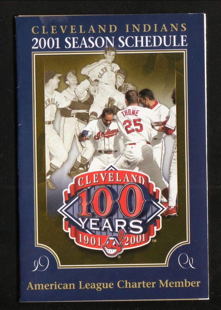 2001 Cleveland Indians Schedule--Indians Gift Shop--100th Anniversary Logo #Pocket