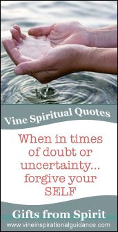 Vine's psychic spiritual quotes - 2007 When in times of doubt or uncertainty forgive your SELF.  vinemedium.com.au #spiritualquotes #spiritual #
