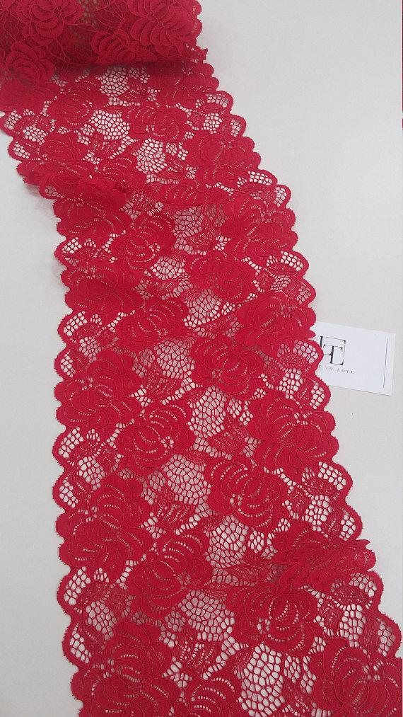 Red lace trim French Lace Alencon Lace Bridal gown lace