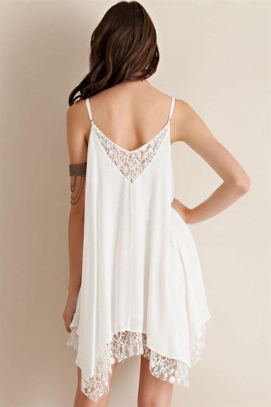 Women Summer Fashion Stitching Lacework Chiffon Shirt Dress Asymmetrical Blouse Top E228
