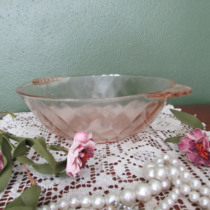 Pink Depression Glass Serving Bowl by LuRuUniques on Etsy