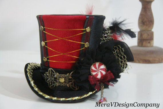 Women Mini Top Hat, Carnival Circus Ring Master Leader Mad Hatter ,Steampunk Hat Glass Cabochon Swarovski READY TO SHIP