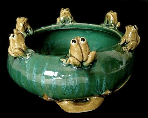Charming Vintage Decorative Ceramic Frog Planter Bowl Six Figurines On Rim Ebay Frogs Decor Crafts Clay