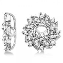 Diamond Accented Flower Earring Jackets in 14k White Gold (0.59ct)
