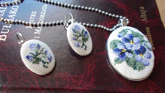 Pedant with earrings set pansies emroidered pedant by DoriArt