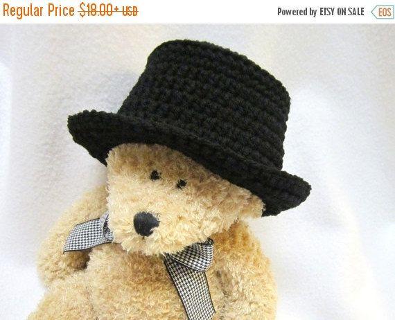 Black Top Hat for Baby Black Fedora Style by crochetedbycharlene