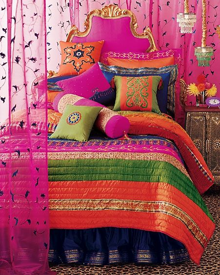 Bohemian Indian vibe. Love this bedroom set, colors are amazing