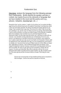 Frankenstein essay passage?