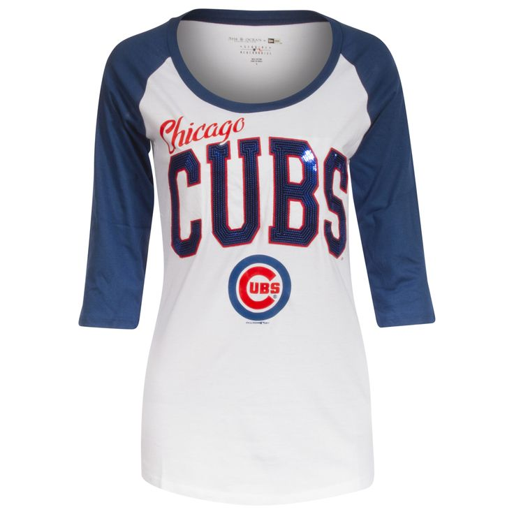 Chicago Cubs Red, White, and Blue Script and Sequin Block Text Sleeve Shirt