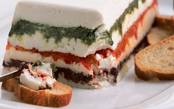 Pesto, Olive and Roasted Red Pepper Goat Cheese Torta via Gourmet