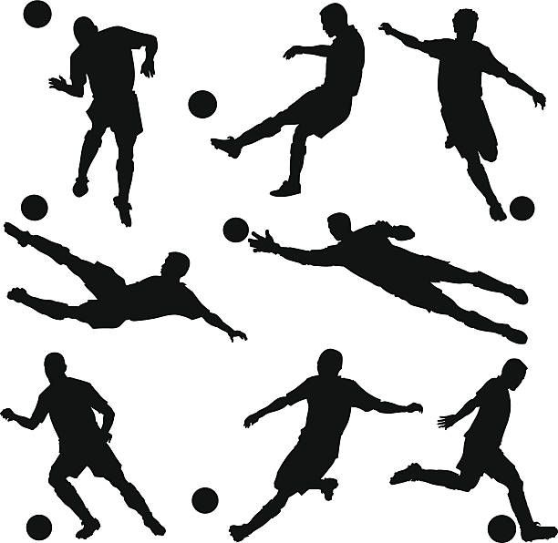Soccer Players Silhouettes Vector Art Illustration Soccer Players Illustration Free Vector Graphics