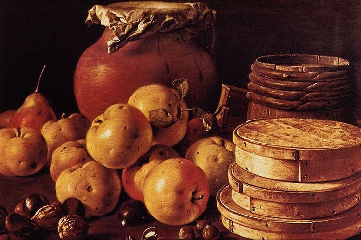 Luis Eugenio Meléndez Natura morta con mele, pere e scatole di caramelle, 1759 Olio su tela. Museo del Prado, Madrid