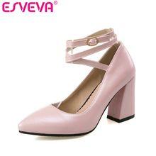 ESVEVA 2017 Rose Partie Haute Talons Femmes Pompes Sexy Pu Carré talon Chaussures de Femmes Bout Pointu Cheville Sangle Chaussures De Mariage Taille 34-43(China (Mainland))