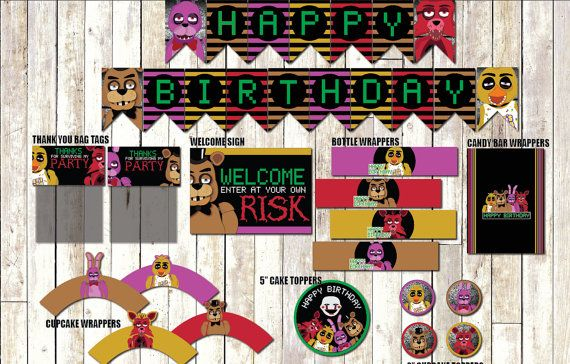 Five nights at Freddy's Party Pack Instant Download by CocoDelava