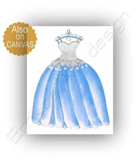 Princess Cinderella Dress Wall Art Princess Decor Girl