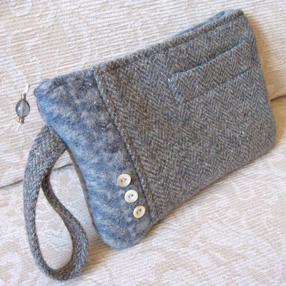 Gray and Houndstooth BELLA Upcycled Wool Handbag by FeltSewGood