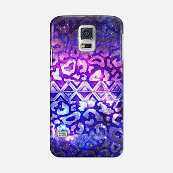 TRIBAL LEOPARD GALAXY - Animal Print Aztec Native Pattern Geometric Violet Plum Purple Blue Ombre Space Galactic Cosmic Stars Abstract Painting