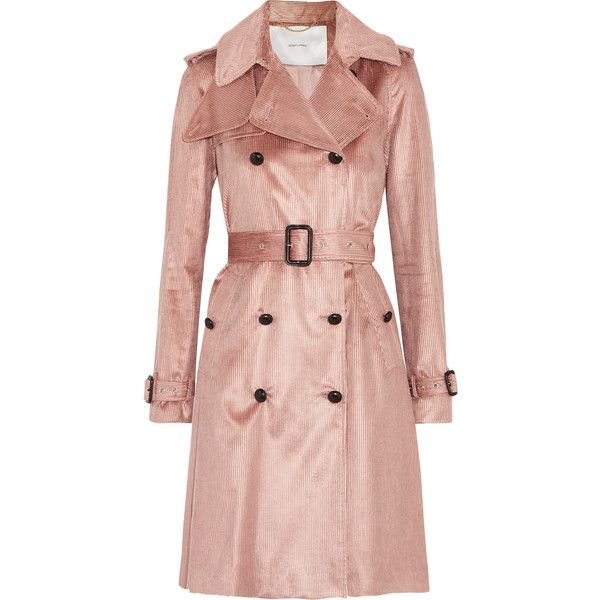 Adam Lippes Cotton-blend corduroy trench coat ($1,590) ❤ liked on Polyvore featuring outerwear, coats, antique rose, trench coats, adam, rose coat, adam coates and corduroy coat