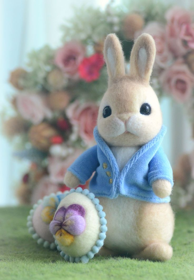 Needle felted Peter Rabbit with Easter eggs