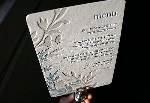 Letterpress wedding menu - Engadine design - Smock by Smock Letterpress, via Flickr
