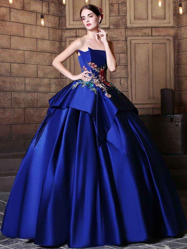 6ee32f27618 Elegant Strapless Ball Gown Embroidery Pick-Ups Floor-Length Quinceanera  Dress