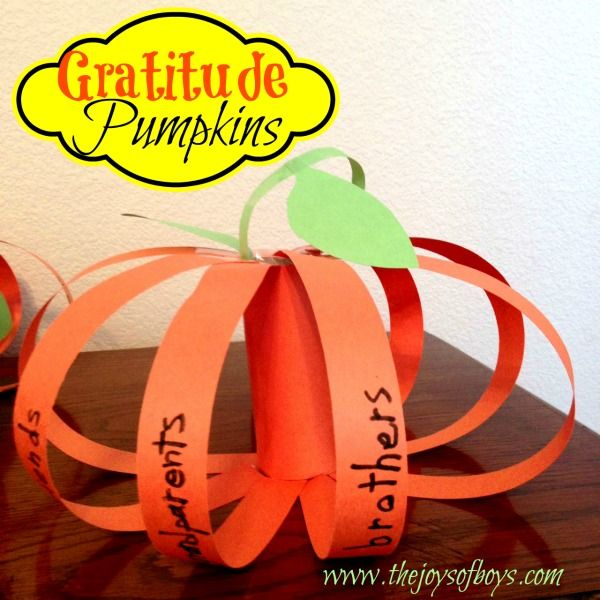 Gratitude Pumpkins | The Joys of Boys An easy Thanksgiving craft where kids write what they are thankful for.