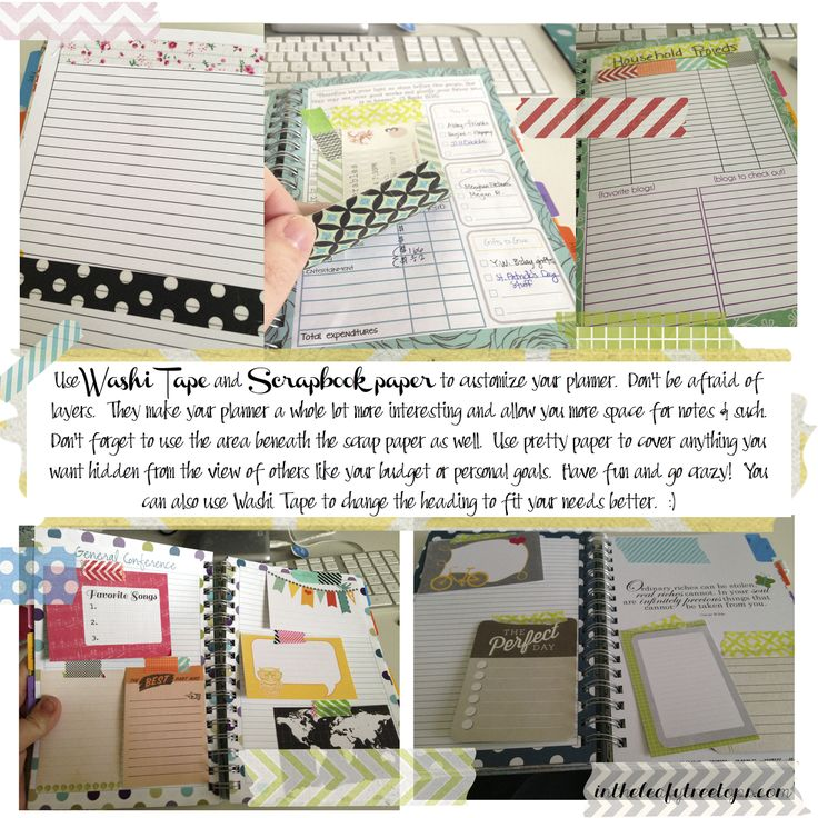 How to use Washi Tape and scrapbook paper to enhance your planet with [Mormon Mom Planner] Plus a FREE PRINTABLE :-)