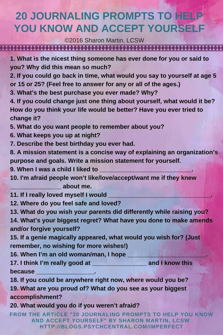 20 journaling prompts to help you know and accept yourself mental