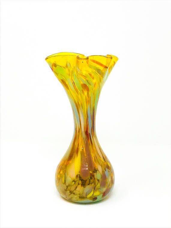 Blown Glass Vase Vintage Glass Vase Bud Vase Multi Color Glass Blowing Bud Vases Glass Vase