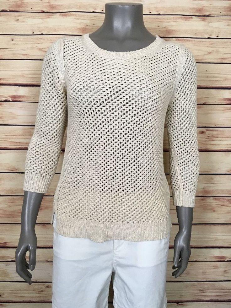 Ann Taylor crewneck sweater Womens size M open weave beige casual wear to work #AnnTaylor #CrewNeck