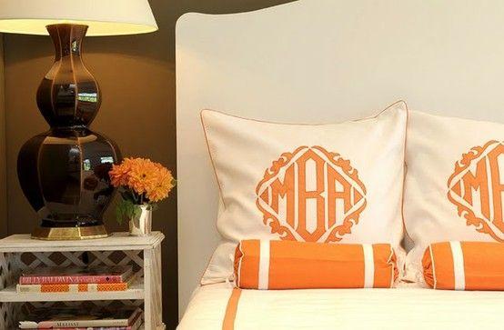 Monograms make simple...FABULOUS!: Decor, Orange, Monogram Pillows, Master Bedrooms, Monograms Pillows, Guest Rooms, Linens Leontin, Leontine Linens, Monograms Beds