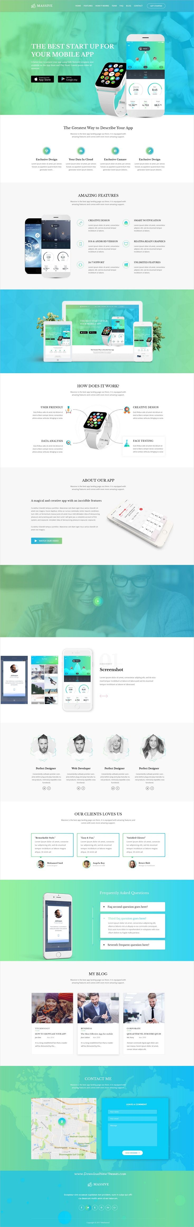 Massive is clean and modern design onepage #PSD template for #app landing page website download now..