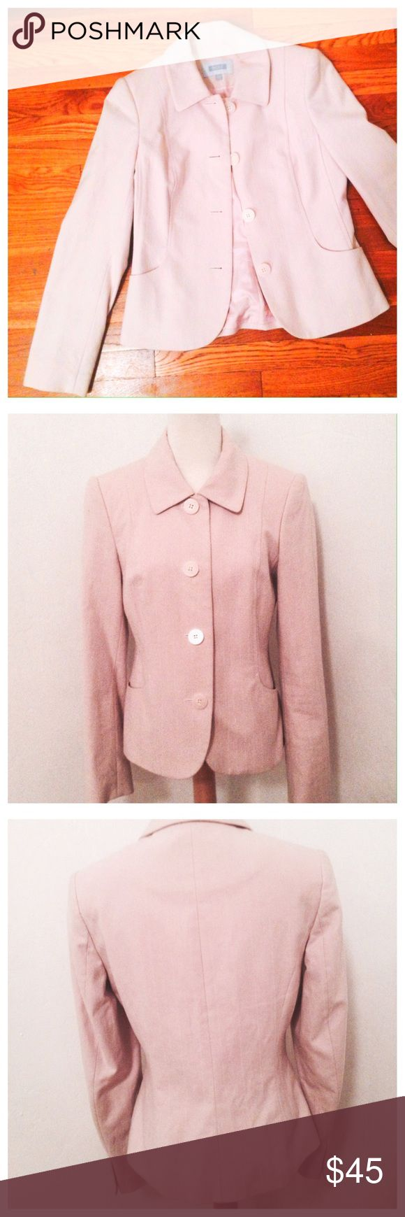 Next U.K. Pink Pinstriped Blazer Size 6 Straight from the U.K! Gorgeous and very well made light pink with pinstripes blazer. Super spring jacket! 100% cotton. 4 button down. 2 pockets. Sits at waist. Dry cleaned but has unnoticeable discoloration under the arm pits. Has a small mark on the inside lining that doesn't go through to the rest of the jacket. Please see last 2 photos. Other than that this is clean and in great condition. Size is 10 UK which is Size 6 USA. next Jackets & Coats…