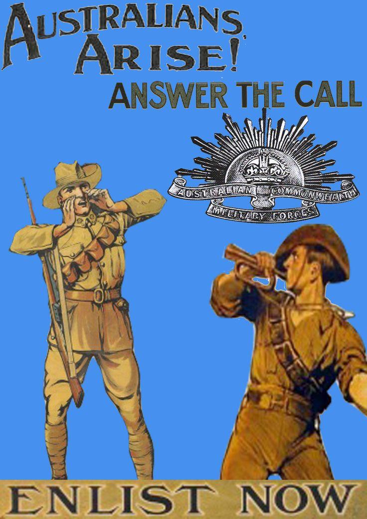 "World War I recruitment poster, highlighting the ""rising Sun"" flag (an array of bayonets around the British crown). Artist: Norman Lindsay."